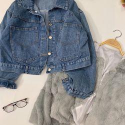 Set áo jean kèm áo lông giá sỉ