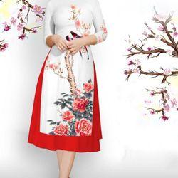 Set áo dài cách tân gấm lụa Thái Tuấn in 3Dchân váy MS2022AD giá sỉ
