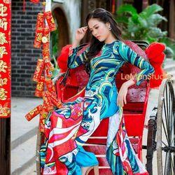 set áo dài truyền thống họa tiết giá sỉ