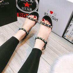 Xuồng sandal đính hạt màu đế cao giá sỉ