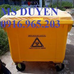 Giảm giá xe rác nhựa HPDE 4 bánh 660l giá sỉ