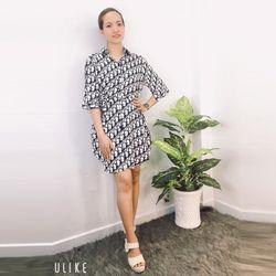 Đầm Sơ Mi Họa Tiết Chữ Cột Eo Big Size giá sỉ