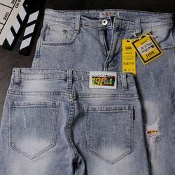 Quần Jeans Nam Teen Rách Màu Xanh Nhạt giá sỉ