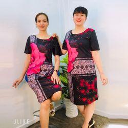 Đầm Hồng Cánh Sen Suông In 3D Hoa giá sỉ