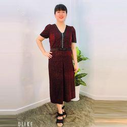 Đầm Dự Tiệc Đỏ Thun 2 Da Kim Tuyến Cao Cấp Kết Ngọc Trai Rũ From Dài giá sỉ