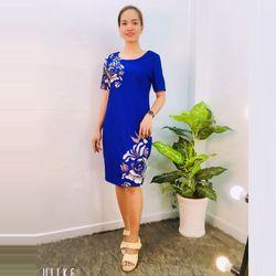 Đầm Xanh Suông In 3D Hoa giá sỉ