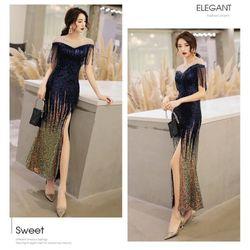 Đầm dạ hội xẻ tà cao cấp pi giá sỉ