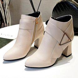 Giày boot nữ cổ trung da pu mềmgót vuông đi nhiều êm chândễ phối thời trang-852 giá sỉ