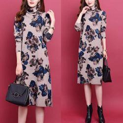 Đầm len hoa cao cấp dáng dài pi giá sỉ