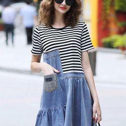 Đầm jean phối thun pi giá sỉ