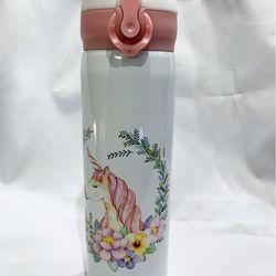 Bình giữ nhiệt 500ml hình ngựa kỳ lân trắng hồng kiểu Hàn Quốc GD0041-1