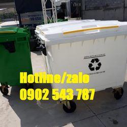 Thùng đựng rác 660l màu trắng thùng rác 660l màu trắng 4 bánh xe nhựa HDPE giá sỉ