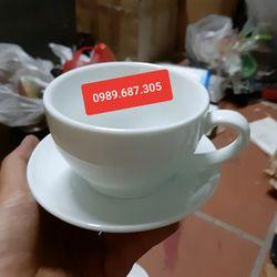 Bộ cốc đĩa cafe màu trắng capuchino giá sỉ