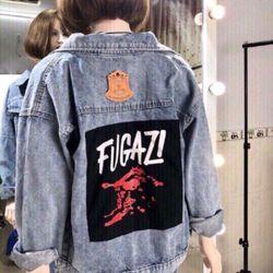 Áo khoác jean nữ in chữ form rộng thời trang chuyên sỉ jean 2KJean giá sỉ