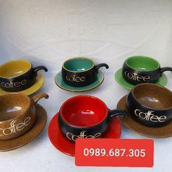 Bộ cốc đĩa cafe gốm màu giá sỉ