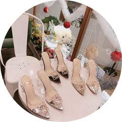 Giày cao mica xoàn khoá gót đẹp