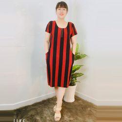Đầm Suông Họa Tiết Sọc Đỏ Cổ Tròn Dây Kéo giá sỉ