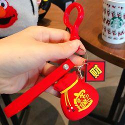 Móc khóa silicon túi đỏ may mắn dây thẻ giá sỉ