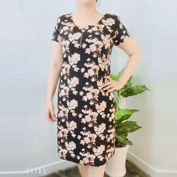 Đầm Suông Họa Tiết Hoa Trắng Cổ Tròn Dây Kéo giá sỉ