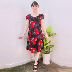 Đầm Thun Thái In Hoa Đỏ Nền Đen Tay Con giá sỉ