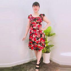 Đầm Thun Thái In Lá Đỏ Tay Con giá sỉ