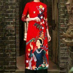 áo dài hoa tiết co gái có kèm quần giá sỉ