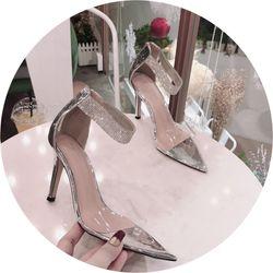 Giày sandal cao gót dây khoá xoàn