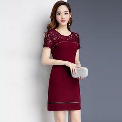 Đầm Đỏ Dự Tiệc Phối Ren Kết Kim Sa giá sỉ