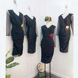 Đầm Kim Tuyến Cổ Đắp Ôm Body giá sỉ