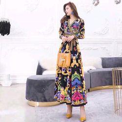 Đầm lụa họa tiết cao cấp xinh