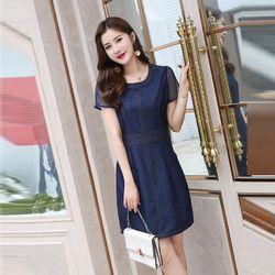Đầm Jean Suông Phối Tay Voan Lưới giá sỉ