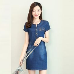 Đầm Jean Suông Cầu Vai Cổ Y Giả Túi giá sỉ