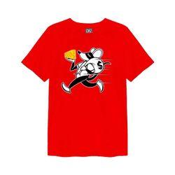 Áo thun Overdose đỏ in hình chú chuột ăn trộm miếng phô mai vàng T0351