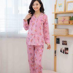 Bộ bầu pyjama tay dài sọc báo hồng