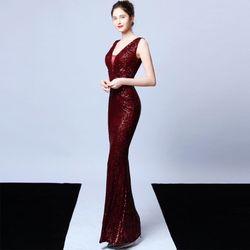 Đầm Đỏ Đô Dự Tiệc Thêu Kim Sa Phối Voan Lưới Cao Cấp Quyến Rũ giá sỉ