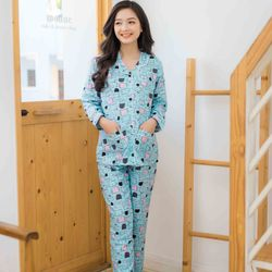 Bộ bầu pyjama tay dài xanh mèo