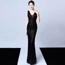 Đầm Đen Dự Tiệc Thêu Kim Sa Phối Voan Lưới Cao Cấp Quyến Rũ giá sỉ