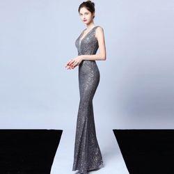 Đầm Silver Dự Tiệc Thêu Kim Sa Phối Voan Lưới Cao Cấp Quyến Rũ giá sỉ