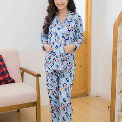 Bộ bầu pyjama tay dài xanh đôremon