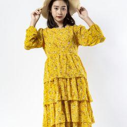 Đầm hoa nhí màu vàng giá sỉ