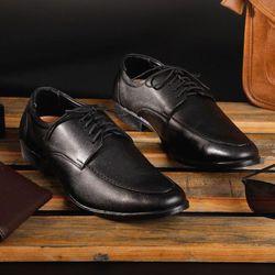 Giày nam Da Thật Tmark mẫu 220Tăng chiều cao 5cm cột dây cổ điển Đen huyền giá sỉ