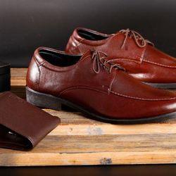 Giày nam Da Thật Tmark mẫu 220 Tăng chiều cao 5cm cột dây cổ điển Nâu đêm giá sỉ