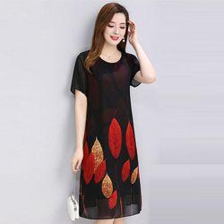 Đầm Oversize In Hình Lá Đỏ 3D giá sỉ