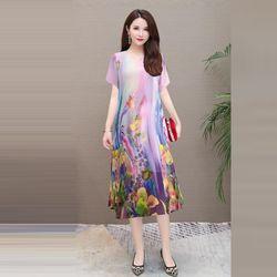 Đầm Oversize In Hình 3D Silk Lụa Họa Tiết giá sỉ