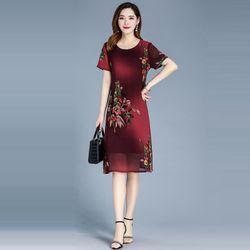 Đầm Đỏ Oversize In Hình 3D Họa Tiết Silk Lụa giá sỉ