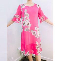 Đầm Hồng Silk Lụa In 3D Họa Tiết Tay Loe giá sỉ