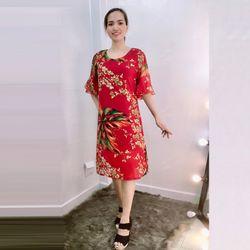 Đầm Đỏ Silk Lụa In 3D Nhiều Họa Tiết Tay Loe giá sỉ