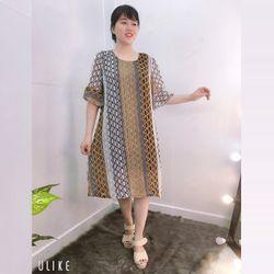 Đầm Silk Lụa In 3D Họa Tiết Độc Đáo Tay Loe giá sỉ