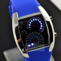 Đồng hồ nam nữ mặt bầu đèn led hiển thị kiểu xe ô tô hot hit giá sỉ