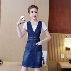 Đầm Jean Yếm Cutout Eo Phối Dây Kéo V giá sỉ